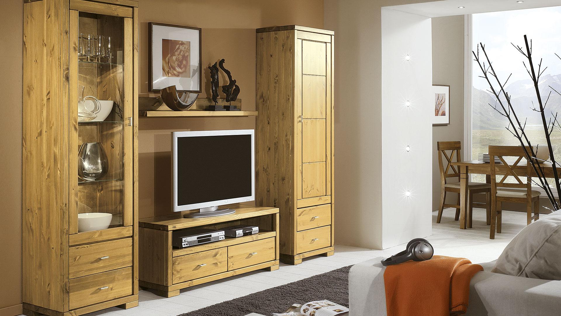 wohnwand mascella massiv kiefer. Black Bedroom Furniture Sets. Home Design Ideas