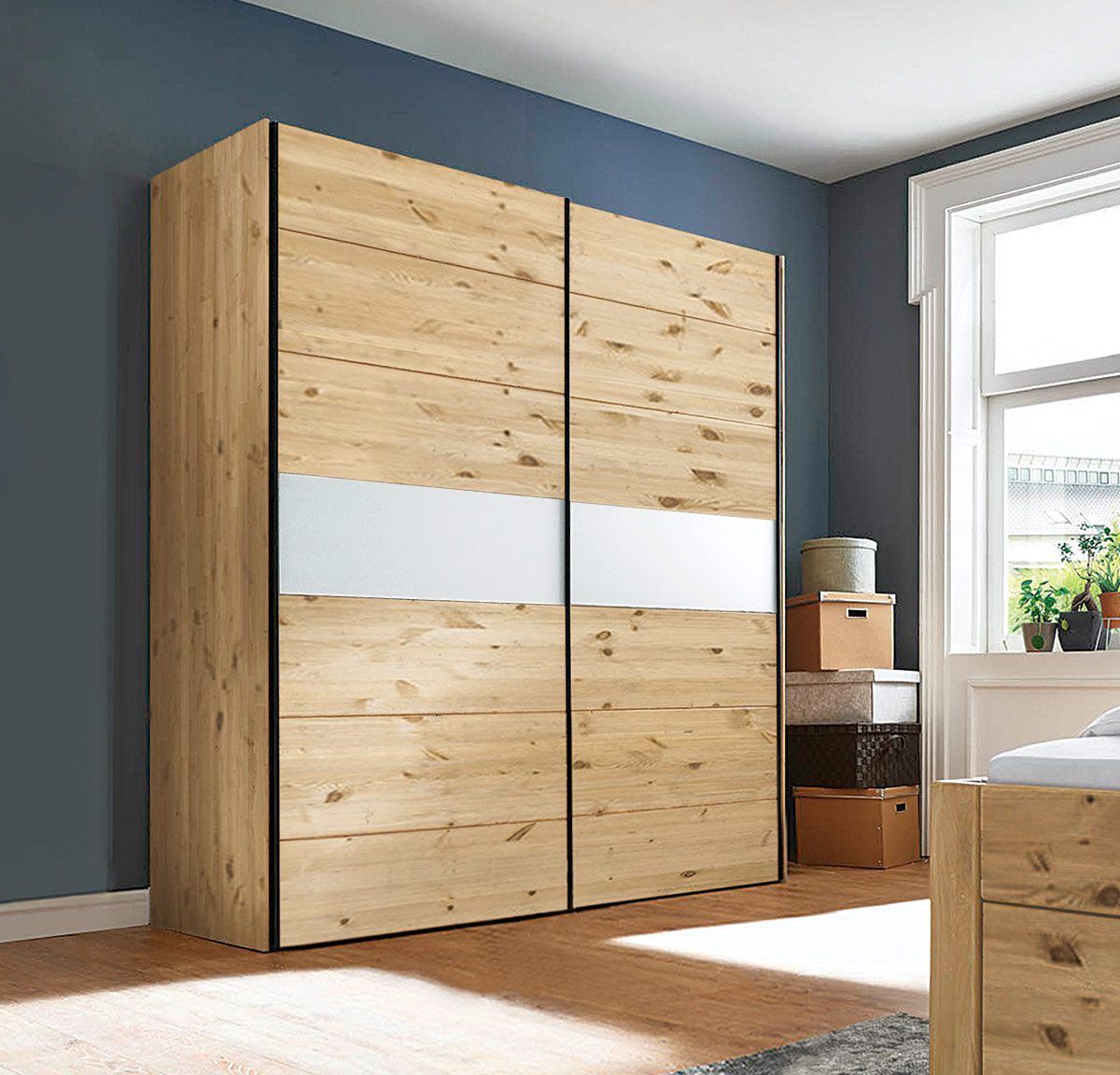 schiebet ren kleiderschrank midra 100 massiv kiefer oder wildeiche mit glas oder holz banderole. Black Bedroom Furniture Sets. Home Design Ideas
