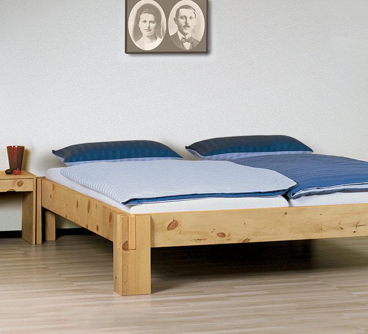 """Einzelbett und Doppelbett """"Salerno Liege"""" Zirbe"""