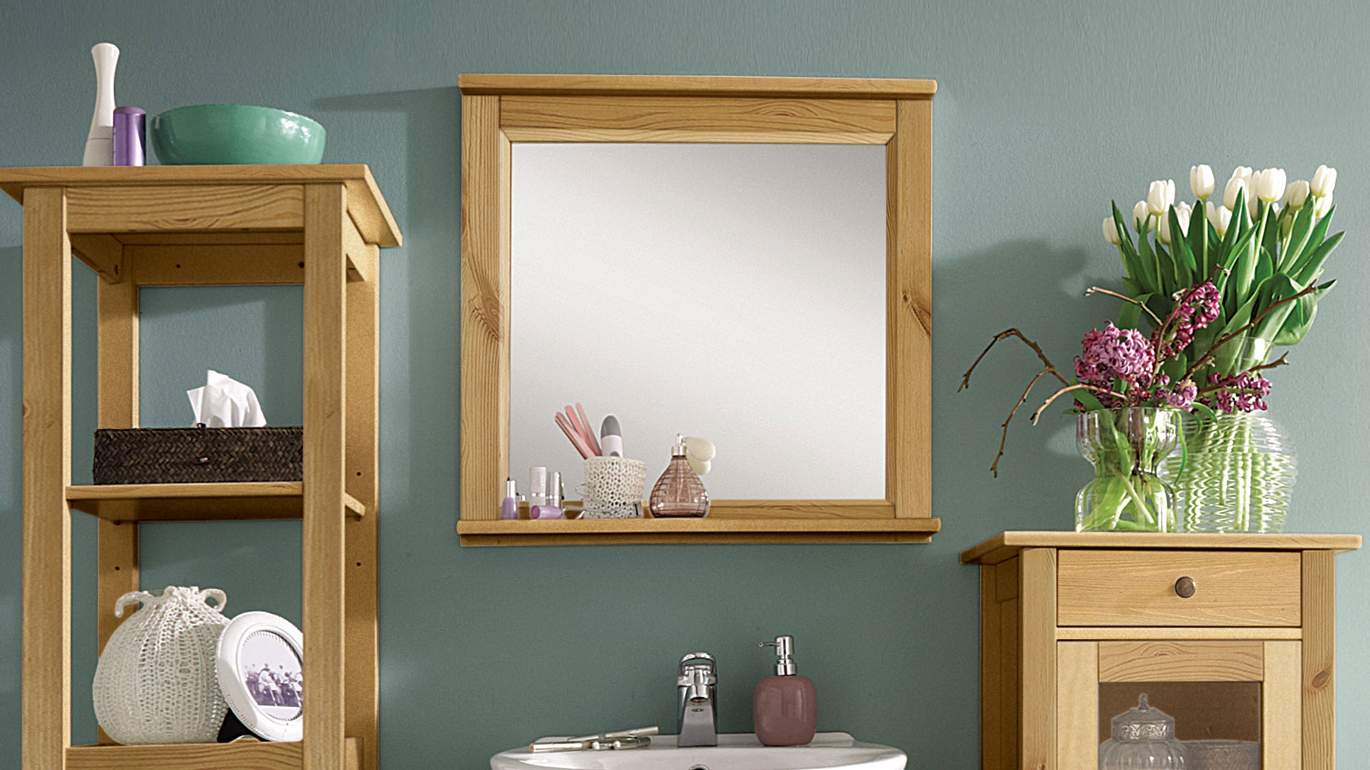 Spiegel aus Kiefernholz gelaugt geölt Badspiegel