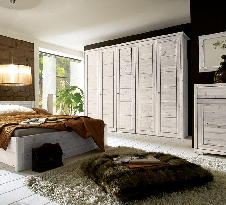 Schlafzimmer Mit Weiß Lasierter Oberfläche